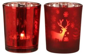 EDELMAN Portacandele Tealight Rosso 2Ass Natale Candele E Incensi