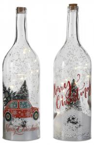 EDELMAN Bottiglia Con Led E Scena Natalizia 2Ass Natale Luci E Decorazioni
