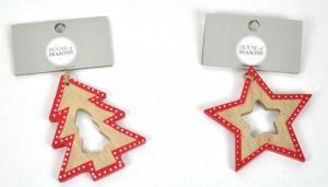 EDELMAN Decorazione Da Appendere In Legno Albero/Stella Natale Decorazioni