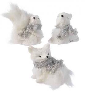 KAEMINGK Animali Di Cotone Da Appendere Con Sciarpa Colore Bianco 3Ass Natale