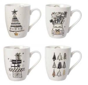 KAEMINGK Tazza Mug In Porcellana Con Decorazioni Oro Colore Bianco 4Ass