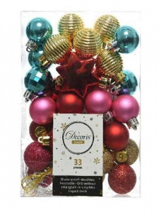 KAEMINGK Confezione 33 Palline Colori E Decorazioni Assortiti Natale Alberi
