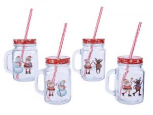 KAEMINGK Bicchiere Con Cannuccia E Decorazioni Natalizie 4Ass Natale