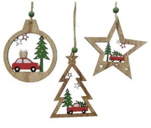 KAEMINGK Decorazioni In Legno Da Appendere 3Ass Natale Decorazioni
