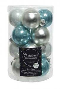 KAEMINGK Confezione 16 Palline Colore Azzurro Ghiaccio Natale Alberi - Sfere