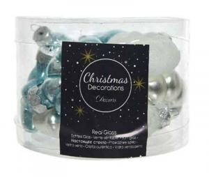 KAEMINGK Confezione Palline Misure Assortite Colore Azzurro Ghiaccio Natale