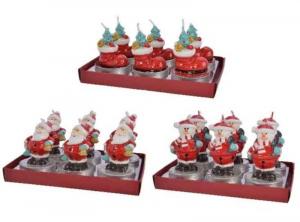 KAEMINGK Confezione 6 Candele A Forma Di Babbo Natale 3Ass Natale Candele