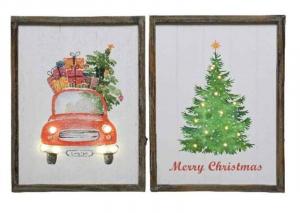 KAEMINGK Cornice Led In Legno Fantasie Natalizie 2Ass Natale Decorazioni