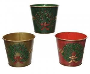 KAEMINGK Secchiello In Ferro Con Decorazioni Natalizie 3Ass Natale Decorazioni