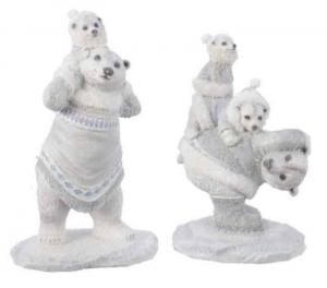 KAEMINGK Statuina Orsi Colore Bianco Con Glitter 2Ass Natale Decorazioni