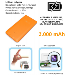 I-INN Emergency Battery 3000Mah Power Bank Accessori telefoni smartphone