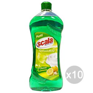 Set 10 Scala Piatti 750 ml Limone Detersivo Detergente