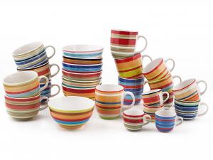 HOME Set 8 Mug Ceramica 100Righe Cc500 Colazione Arredo Tavola