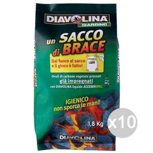 Set 10 DIAVOLINA Carbone Sacco Brace Ovuli 1.8 Kg Per Barbecue E Camino