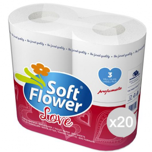 Set 20 SOFT FLOWER Carta Igienica 4 Rotoloni Love 3Veli Econ Sanitari Bagni