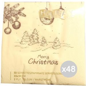 Set 48 SOFT FLOWER Tovaglioli 33X33 Soft Fl Decoro X50 Natale Accessorio Per La Cucina E La Tavola