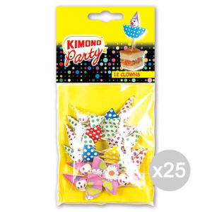 Set 25 KIMONO 12 Stuzzicadenti Party Clowns Accessorio Per La Cucina E La Tavola