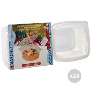 Set 24 VIROSAC Vaschette microonde 1p +coperchio x 4 contenitore per alimenti