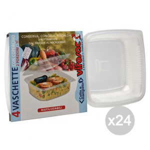 Set 24 VIROSAC Vaschetta Microonde 2P +Coperchio X 4 Preparazione Dei Cibi E Cucina