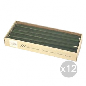 Set 12 Candele Coniche Verde X 10 Cm 25 Profumazione E Decorazione Della Casa