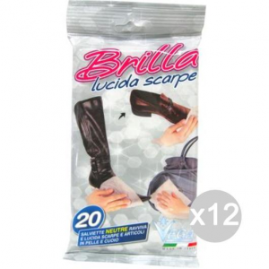 Set 12 VEGA 20 Salviette Neutre Brilla Lucida Scarpe Per Calzature E Scarpe