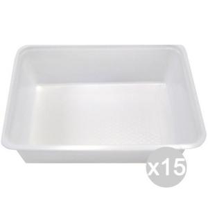 Set 15 Vaschetta Plastica 2 Porzioni A 9 X 50 Rettangolare Bianca Cibi E Cucina