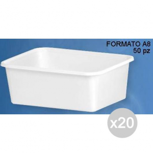 Set 20 Vaschetta Plastica 1 Porzioni A-8 X 50 Rettangolare Bianca Cibi E Cucina