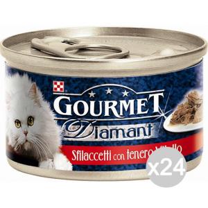 Set 24 PURINA Gourmet Diamant Gr 85 Tacchino Sfilaccetti Cibo Per Gatti