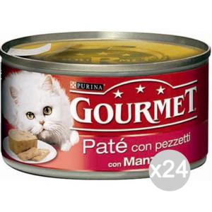 Set 24 PURINA Gourmet Lattine Manzo Fegat Gr 195 Fettine Cibo Per Gatti