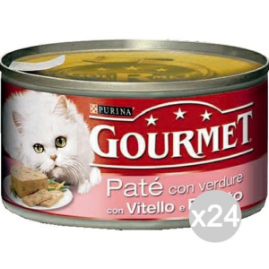 Set 24 PURINA Gourmet Lattine Vitello Prosc/Form.195 Pate' Cibo Per Gatti