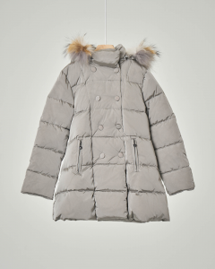 Cappotto grigio con cappuccio e pelliccia staccabile 3-7 anni