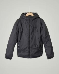 Giacca nera in nylon con stampa logo all-over reversibile in tinta unita 10-16 anni