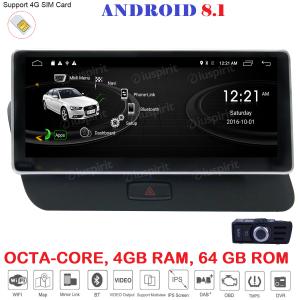 ANDROID 10.25 pollici navigatore per Audi Q5 2009-2017 GPS WI-FI Bluetooth MirrorLink 4GB RAM 64GB ROM Octa-Core 4G LTE