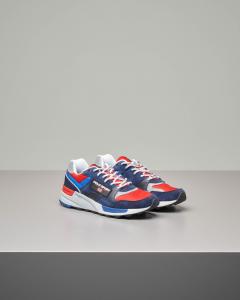 Sneakers running blu rosse e bianche