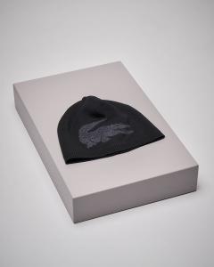 Berretto nero logato in lana