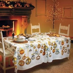 Tovaglia Natale rettangolare Tessitura Toscana GOLDEN JINGLE -2 misure