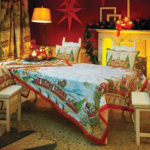 Tovaglia Natale 170x270cm 12 posti Tessitura Toscana CHRISTMAS EXPRESS