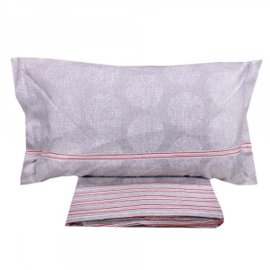 Lenzuola matrimoniale completo caldo cotone Chamonix zig-zag grigio