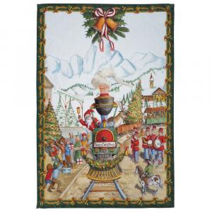 Strofinaccio Natale da cucina Tessitura Toscana lino Christmas Express