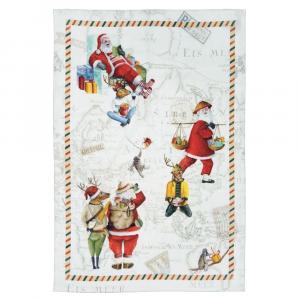 Strofinaccio Natale da cucina Tessitura Toscana lino Globe Christmas