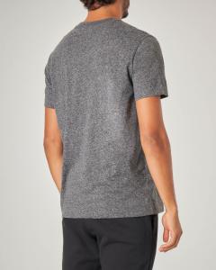 T-shirt grigio antracite mezza manica con logo in spugna