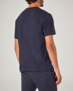 T-shirt blu mezza manica con logo in spugna