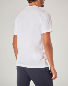 T-shirt bianca mezza manica con logo in spugna
