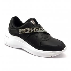 Sneaker nera con fascia strassata Guess