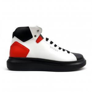 Sneaker alta bianca/rossa/nera Guess