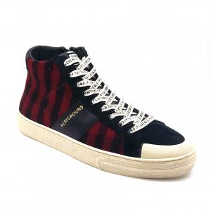 Sneaker alta tartan rosso/nero Moa