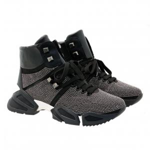 Sneaker alta nera con microstrass Tosca Blu