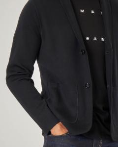 Giacca maglia nera in cotone e lana con chiusura a due bottoni