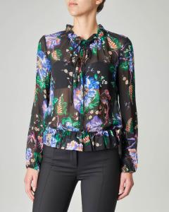 Blusa nera in georgette di viscosa a fantasia floreale multicolor con volant