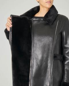 Eco montone nero reversibile con interno in tessuto effetto shearling